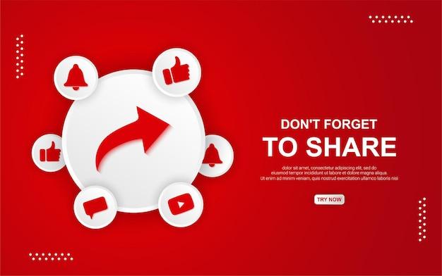 Bouton de partage youtube sur fond rouge