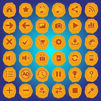 Bouton en pierre et jeu d'icônes de couleur jaune pour les jeux.