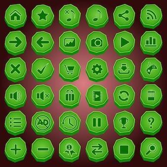 Bouton en pierre et jeu d'icônes de couleur verte pour les jeux.