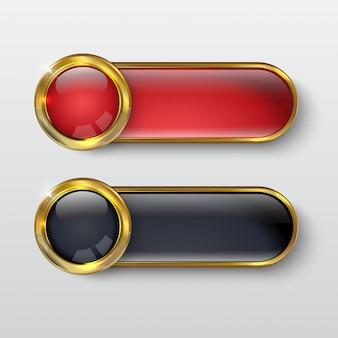 Bouton premium or rouge brillant