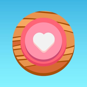 Bouton rond de l'application mobile ui coeur rose blanc rouge jaune marron avec vecteur premium motif bois