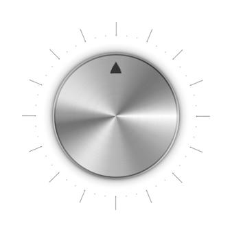 Bouton rond en métal avec marques et graduations sur blanc