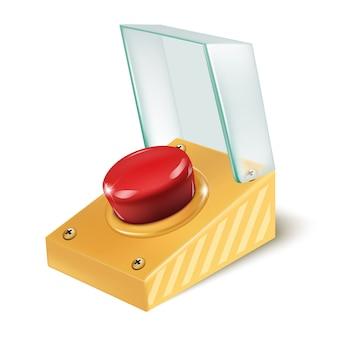 Bouton rouge d'urgence de vecteur réaliste d'alarme avec une couverture en verre.