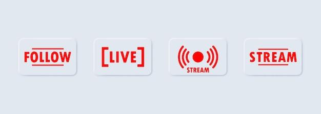 Bouton de suivi et de diffusion en direct. concept de médias sociaux.