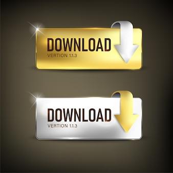 Bouton de téléchargement de couleur or et argent