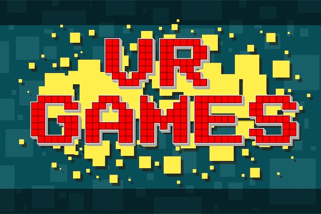 Bouton de texte rétro pixel rouge pour les jeux vidéo