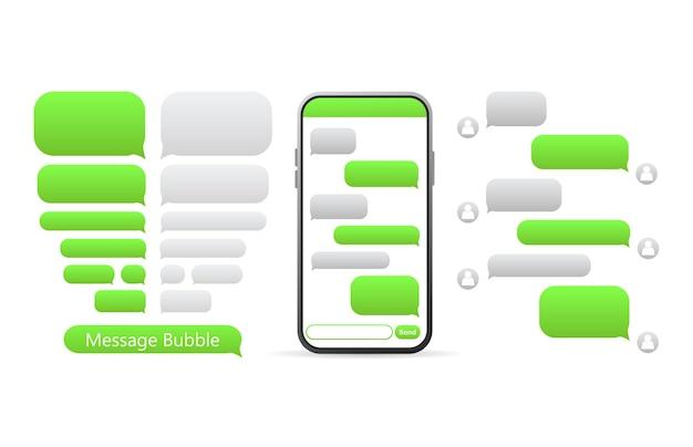 Bouton vert plat. discours de bulle de conversation