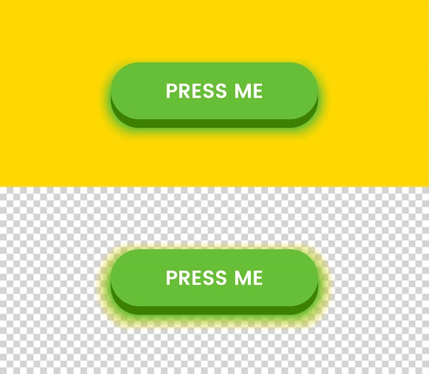 Bouton vert simple. jaune et transparent
