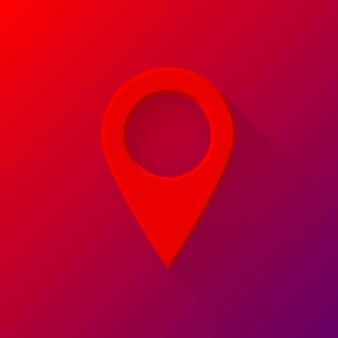 Bouton vide de pointeur de carte gps abstrait rouge avec ombre conçue à plat et fond dégradé