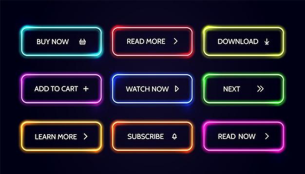 Bouton web neom lueur boutons d'action colorés modernes vecteur acheter maintenant télécharger en savoir plus ensemble de bannières