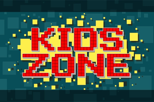Bouton de zone enfants rétro pixel rouge pour les jeux vidéo