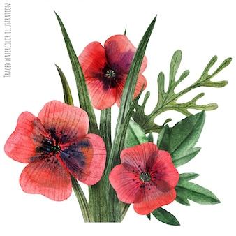 Boutonnière aquarelle coquelicot et herbe