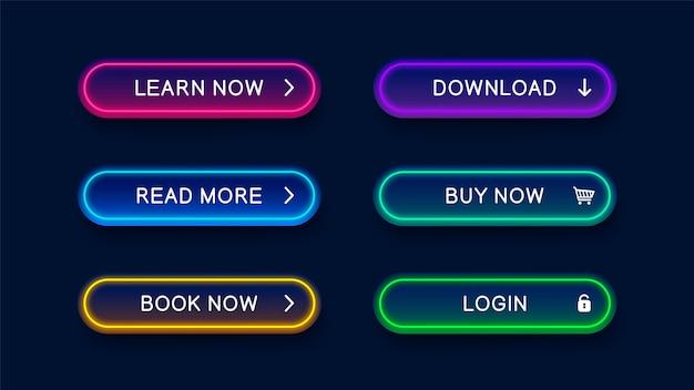 Boutons abstraits lumineux néon moderne pour site web.