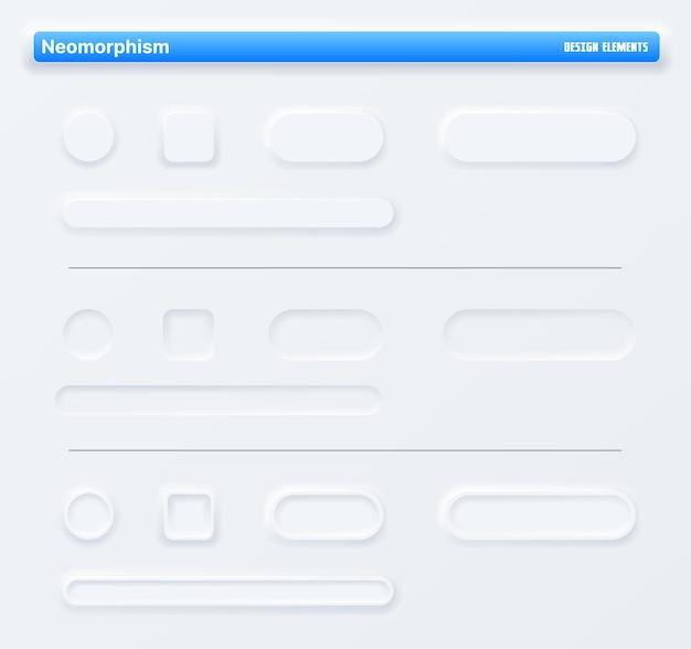 Boutons d'application néomorphiques, interface web de navigation