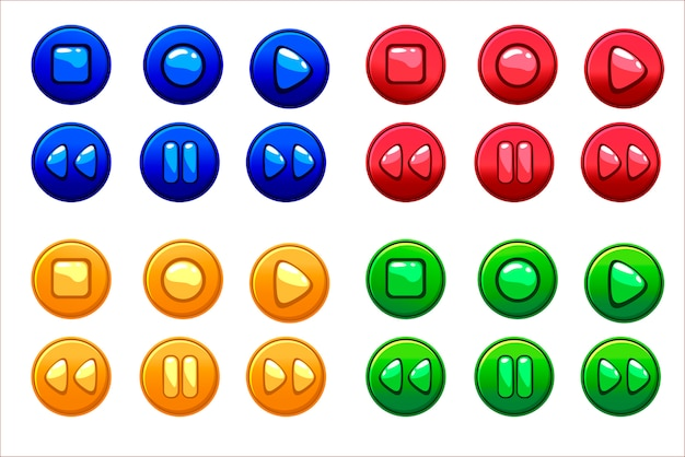Boutons audio colorés de dessin animé, actifs du jeu d'interface utilisateur