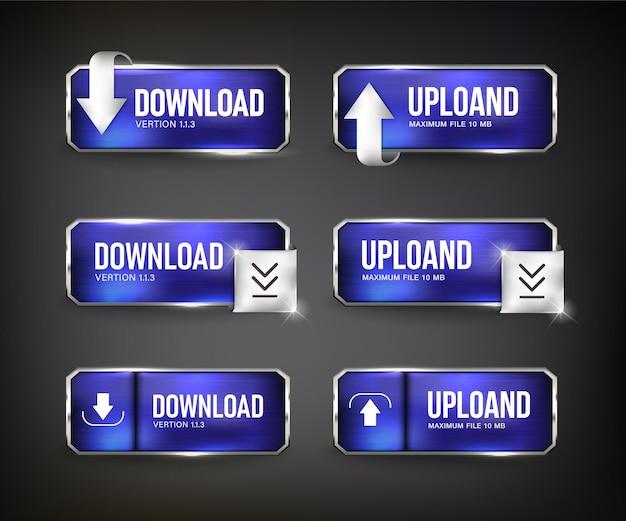 Boutons bleu téléchargement web acier sur fond couleur noir