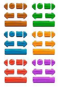 Boutons en bois de dessin animé pour la conception de jeux ou de sites web