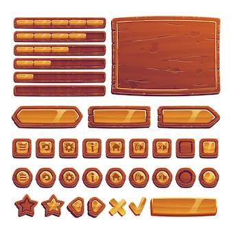 Boutons en bois et or pour le jeu de l'interface utilisateur