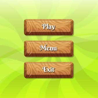 Boutons en bois de style dessin animé avec texte pour la conception de jeux