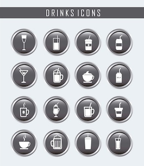 Boutons de boissons au cours de l'illustration vectorielle fond gris