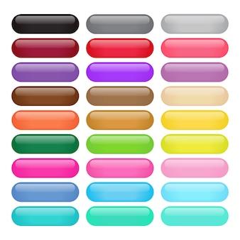 Boutons brillants ronds rectangulaires colorés