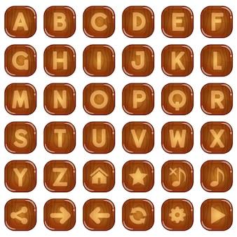 Boutons carrés en bois pour un jeu de mots de l'alphabet à z.