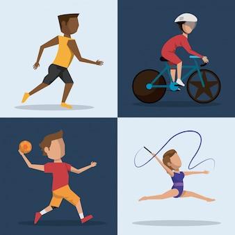 Boutons carrés de couleurs représentant des athlètes de différents sports olympiques