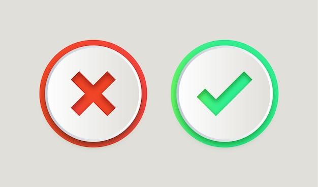 Boutons de coche vert oui et rouge non ou icônes approuvées et rejetées dans un cercle rond