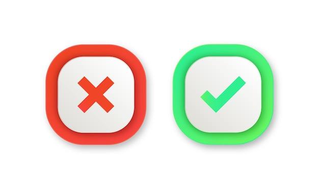 Boutons de coche vert oui et rouge non ou icônes approuvées et rejetées dans le coin rond carré