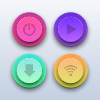 Boutons colorés 3d. boutons power, play, download et wifi.