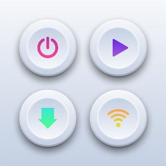 Boutons colorés 3d de puissance, de lecture, de téléchargement et de wifi.