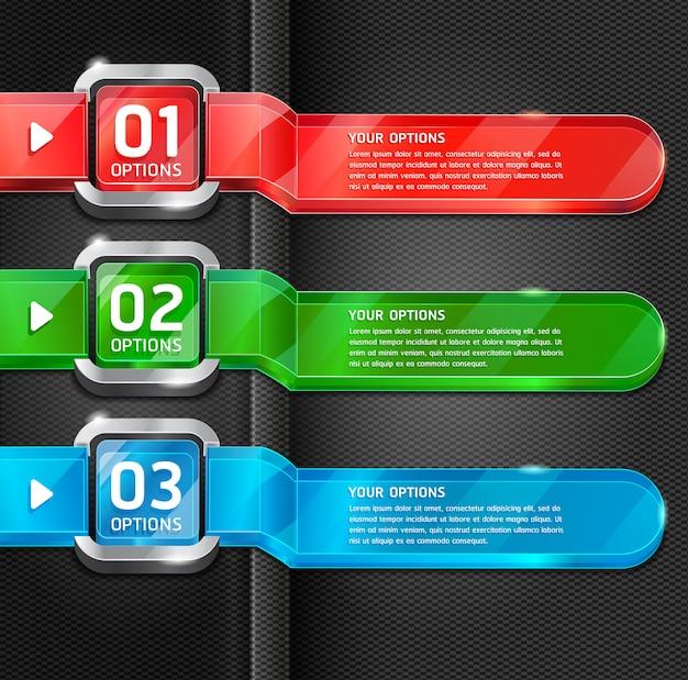 Boutons colorés options de numéro de style de site web fond de bannière et de carte.