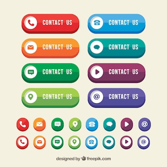 Boutons de contact colorées avec des icônes design plat
