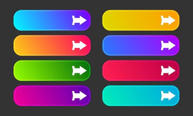 Boutons dégradés colorés avec des flèches. ensemble de huit boutons web abstraits modernes. illustration vectorielle