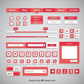 Boutons et éléments de design plat web red