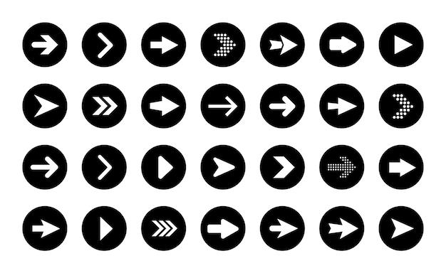 Boutons fléchés de forme ronde. ensemble d'icônes plats, signes, flèche de symboles