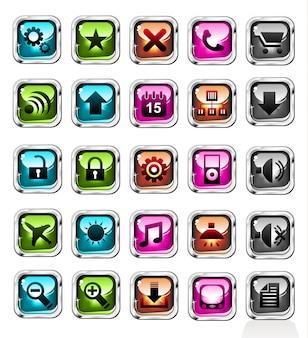 Boutons d'icônes d'achats web