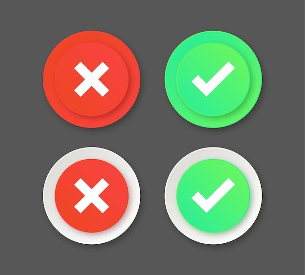 Boutons d'icônes de coche rouge et verte