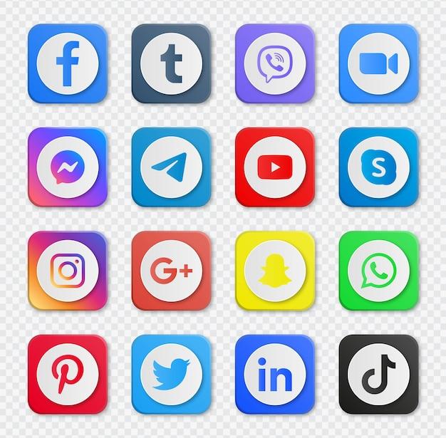 Boutons d'icônes de médias sociaux ou logos de réseau populaires