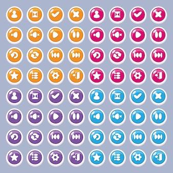 Boutons d'icônes pour la conception de l'interface de jeu et d'application (paramètres, lecture, pause, profil, sortie).