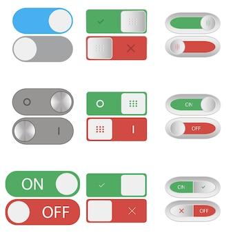 Boutons d'interrupteur marche et arrêt ensemble de curseurs à bascule d'inclusion et d'arrêt