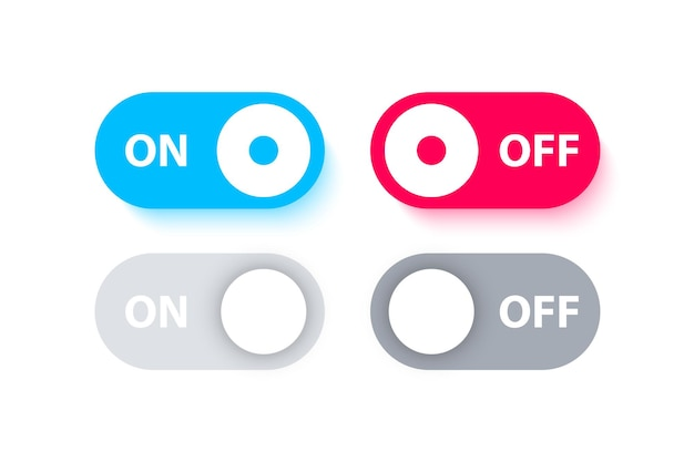 Boutons d'interrupteur on off basculer différents interrupteurs pour l'application mobile