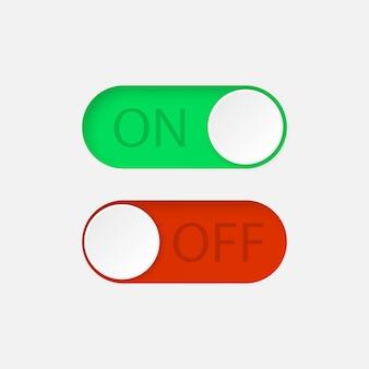 Boutons interrupteurs à bascule on et off.