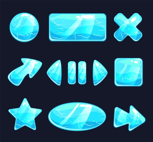 Boutons de jeu de glace ou icône