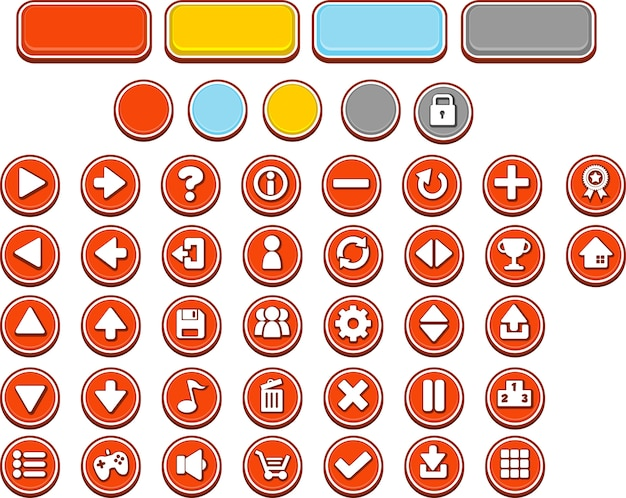 Boutons de jeu rouges