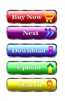 Boutons multicolores. création de sites web. acheter maintenant, suivant, télécharger, télécharger, rechercher.