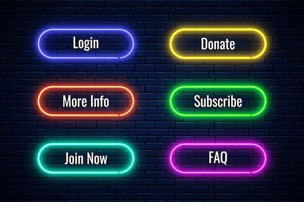 Boutons de néon lumineux pour la conception de dons internet. ensemble de bouton de site web.
