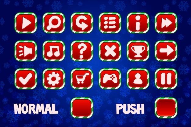 Boutons de noël pour l'interface utilisateur des jeux web et 2d. bouton carré normal et poussoir.