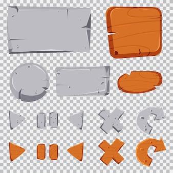 Boutons de pierre et de bois, tablette et cadre jeu d'interface utilisateur de jeu de dessin animé isolé sur fond transparent.