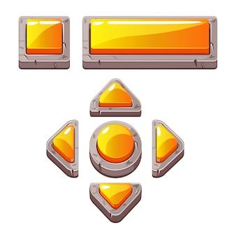 Boutons en pierre de dessin animé orange pour le jeu